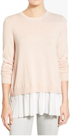 Pleated-hem-sweater