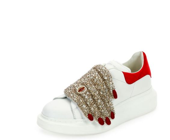 Alexander-Mcqueen-Leather-Sneaker-with-Jeweled-Hand