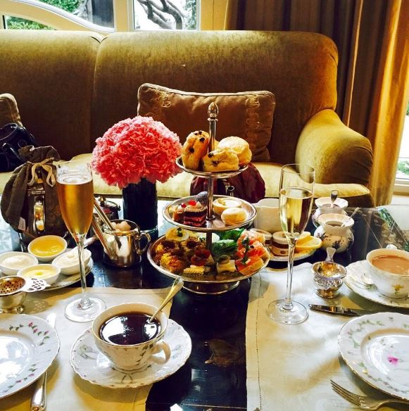 Afternoon tea set up at home