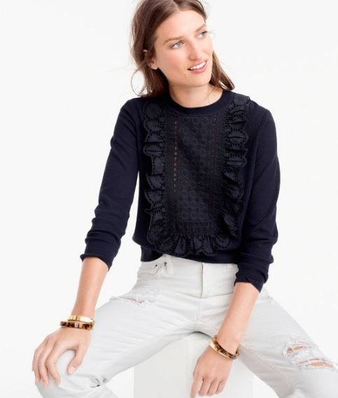JCrew Lace eyelet sweater sale