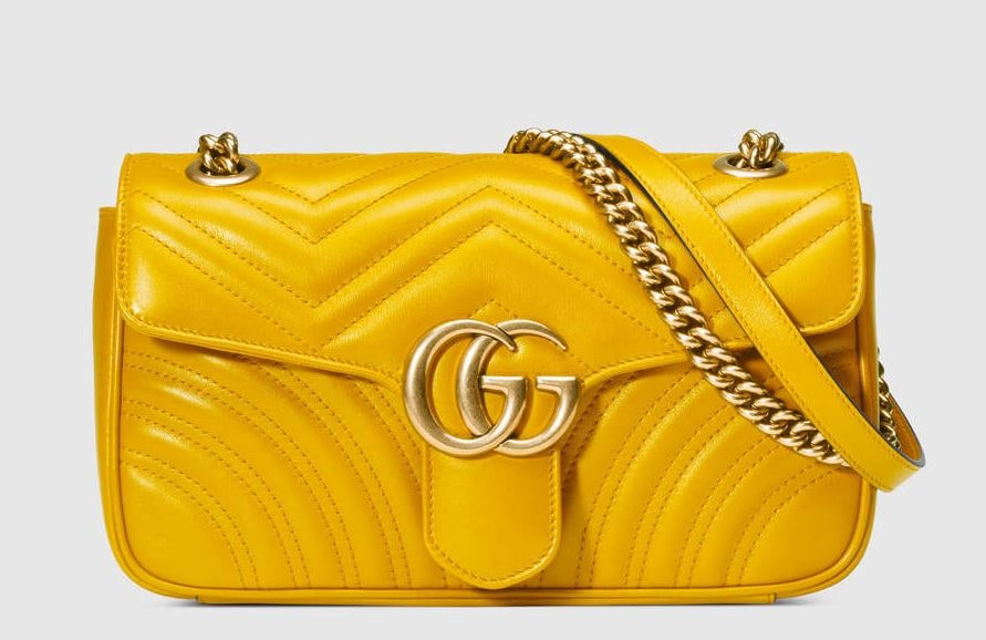 Gucci-Matelasse Marmont Yellow bag