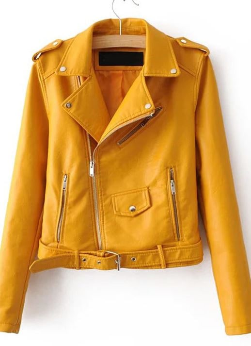 Yellow moto faux leather jacket