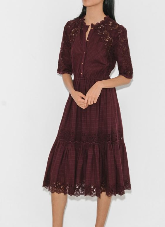Ulla Johnson lace burgundy dress