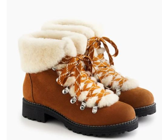 Jcrew nordic shearling boots