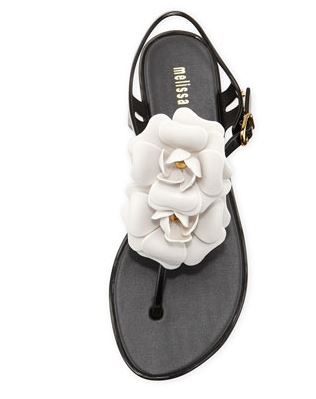 3b8fe0e32c11 Get the strappy Melissa floral Chanel like thong sandals here for  48 on  sale. Turn ...