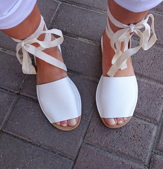 White Leather Lace Up Espadrilles