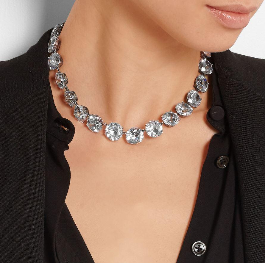 Bottega Veneta Cubic-zirconia and oxidised-silver necklace TTcWNmdNL