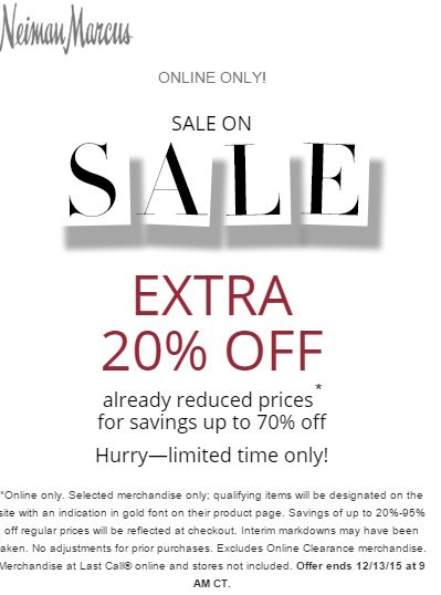 f8947cd0f79 Neiman Marcus Extra 20% off Sale Items ONLINE ONLY - Shopping and Info