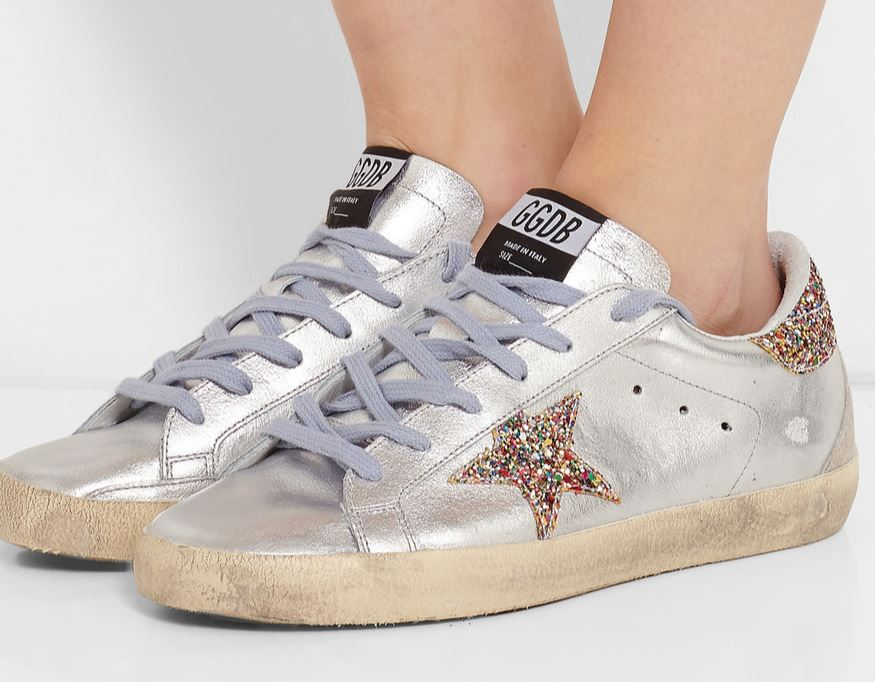 9243e20cb82e Golden Goose Silver Glitter Sneakers - Shopping and Info