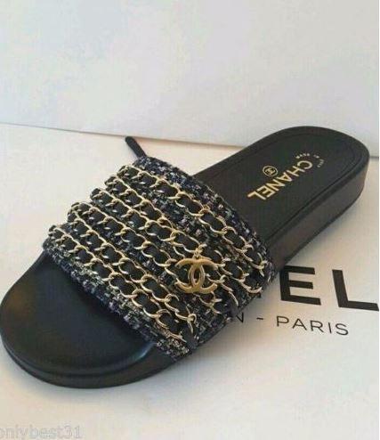 8fbfa81daa9155 Chanel Black Gold Chain Sandals - Shopping and Info