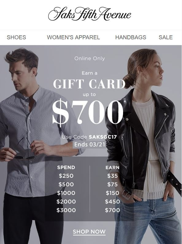 Saks Stock Up for Spring Gift Card Event
