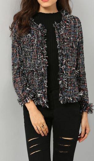 Chanel style tassel fringe jacket