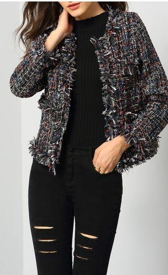 Chanel ish boucle tweed jacket