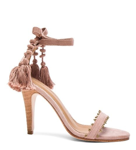 Ulla Johnson fringe pink suede sandals