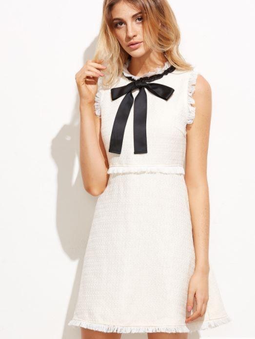 Boucle cream and white dress