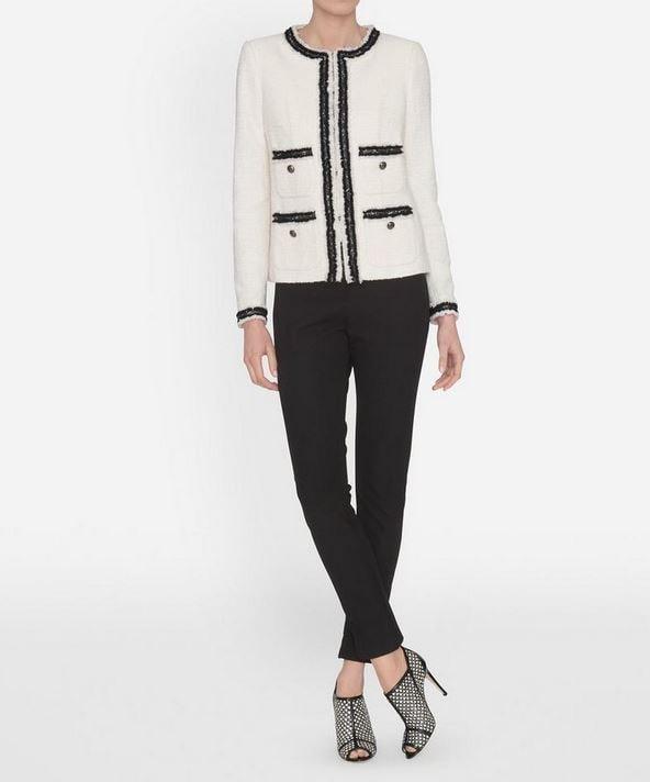 cream and black boucle jacket