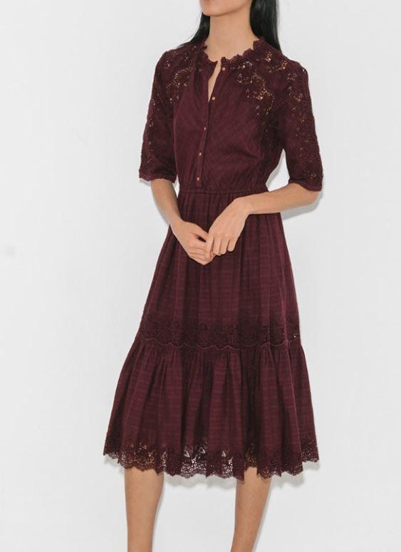 Ulla Johnson lace burgundy dress