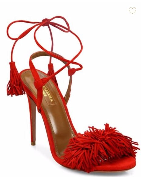 Aquazzura fringe red sandals sale
