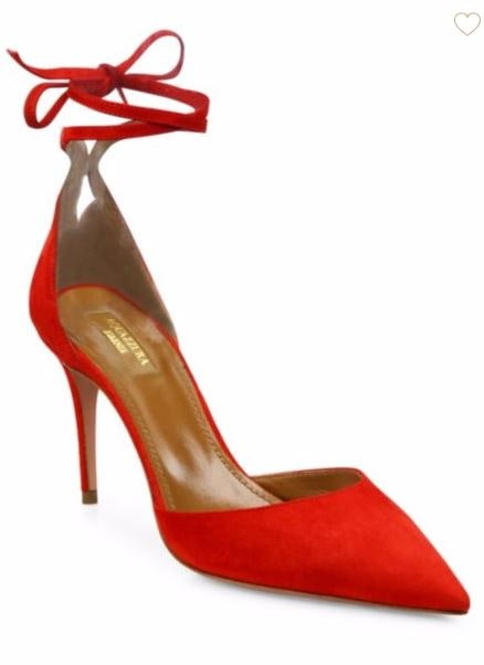 Aquazzura red suede pumps sale