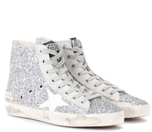 Golden Goose Silver Glitter Sneakers on sale