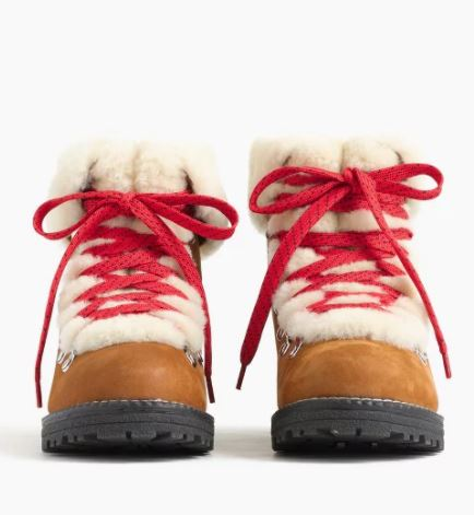 Jcrew nordic shearling boots with red laces