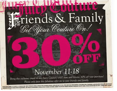 Juicy Couture friends and family event | ShoppingandInfo.com