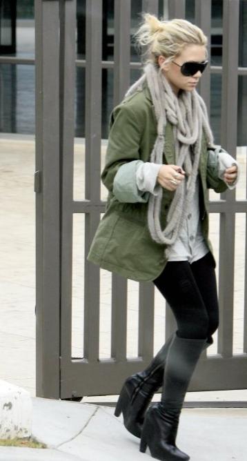 ashley olsen parka Ashley Olsen Army Parka Style for Fall