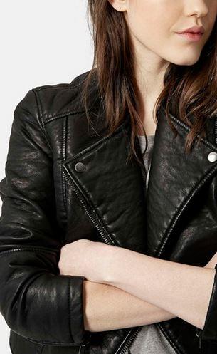 Topshop black faux leather biker jacket Topshop Faux Leather Biker Jacket