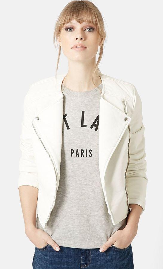 Topshop white faux leather jacket Topshop Faux Leather Biker Jacket