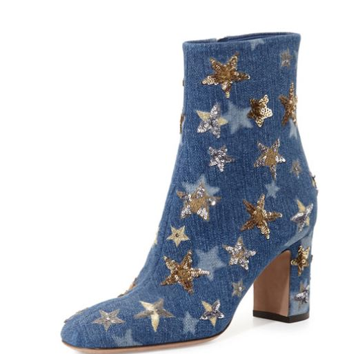 Valentino-star-studded-denim-ankle-boot